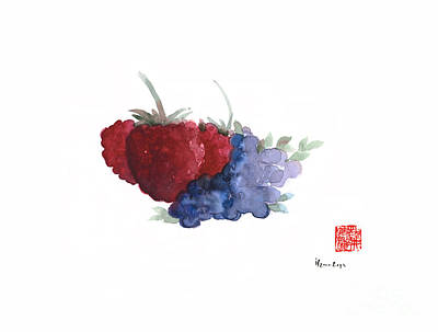 Berries Red Pink Black Blue Fruit Blueberry Blueberries Raspberry Raspberries Fruits Watercolors  Print by Johana Szmerdt