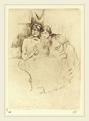 Reprint Drawing - Berthe Morisot French, 1841-1895, The Drawing Lesson by Litz Collection