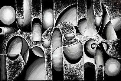 Best Art Choice Award Original Abstract Oil Painting Modern White Black Contemporary Home Gallery Print by Emma Lambert