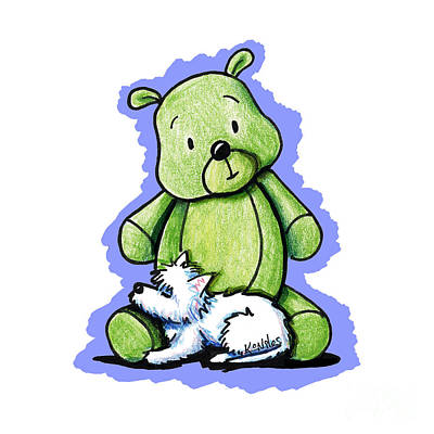 Bear Drawing - Best Buddies Come In All Sizes by Kim Niles