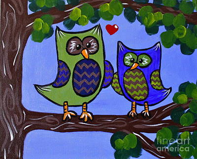 Chevron Owl Painting - Best Buddies by Kimberly Wix