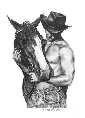 Custom Horse Portrait Drawing - Best Buds by Marianne NANA Betts