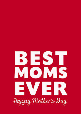 Best Moms Card- Red- Two Moms Mother's Day Card Print by Linda Woods