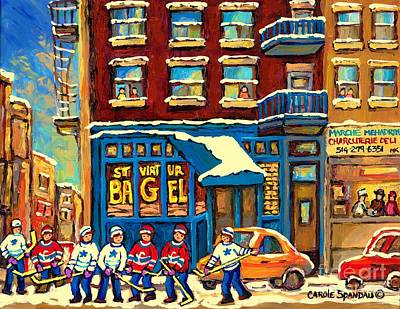 Montreal Bagels Painting - Best Sellers Original Montreal Paintings For Sale Hockey Game At St.viateur Bagel Carole Spandau by Carole Spandau
