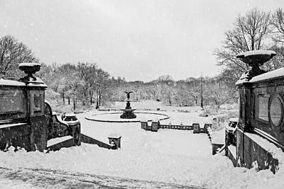 Winter Photograph - Bethesda Fountain In Central Park Bw by Susan Candelario