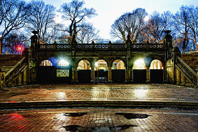 Central Park Photograph - Bethesda Passage Night Color by Dave Beckerman