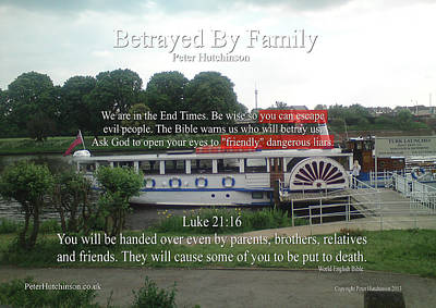 Betrayed By Family Print by Bible Verse Pictures