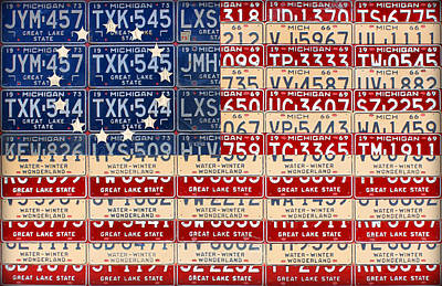 Betsy Ross American Flag Michigan License Plate Recycled Art On Red Board Print by Design Turnpike