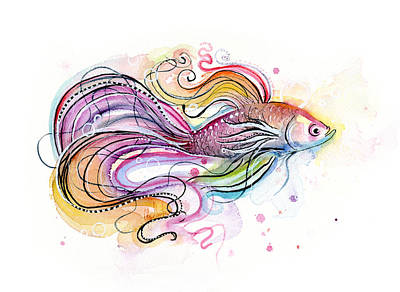 Doodle Painting - Betta Fish Watercolor by Olga Shvartsur