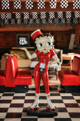 Betty Boop On Route 66 Print by Lori Deiter