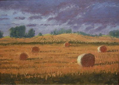 Haybale Painting - Between Showers by Roger Parsons