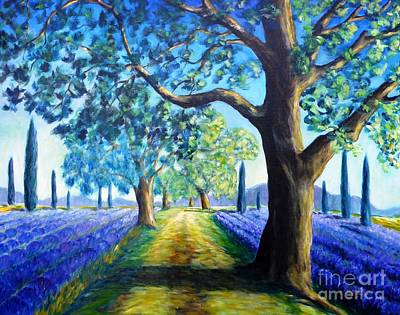 Lavender Painting - Between The Lavender Fields by Cristina Stefan