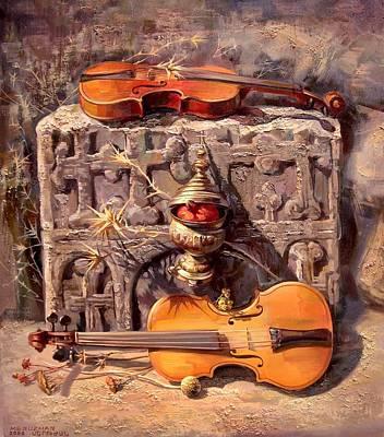 Violin Painting - Between Two Fires by Meruzhan Khachatryan