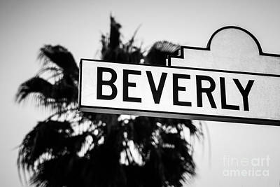 Beverly Hills Photograph - Beverly Boulevard Street Sign In Black An White by Paul Velgos