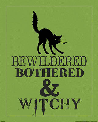 Witch Cat Painting - Bewitched by Katie Pertiet
