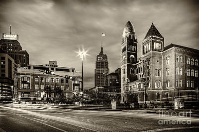 Bexar County Courthouse And Tower Life Building Main Plaza In Bw Monochrome - San Antonio Texas Print by Silvio Ligutti