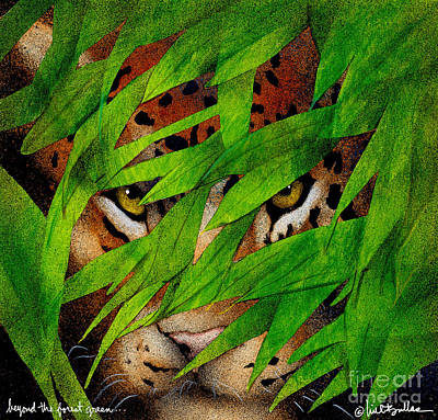 Jungle Cat Painting - Beyond The Forest Green... by Will Bullas