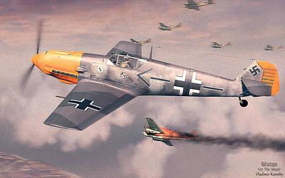 Adolf Digital Art - Bf 109e Geschwaderkommodore Jg 26 Adolf Galland by Vladimir Kamsky