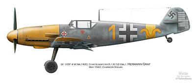 Bf 109f-4 W.nr.7420. Staffelkapitan 9./jg 52 Oblt. Hermann Graf. May 1942. Charkow-rogan. Print by Vladimir Kamsky