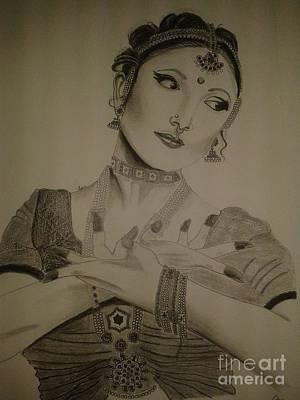 Indian Dance Drawing - Bharathanatiyam by Anu Radha