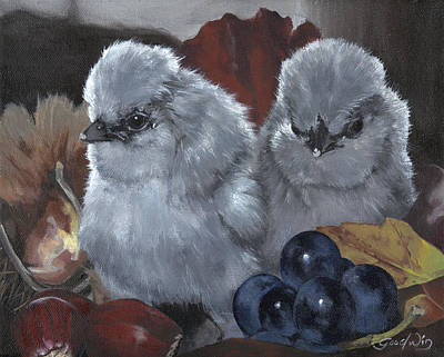 Bantam Painting - Bibi's Chicks by Gilda Goodwin