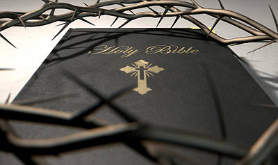 Catholicism Digital Art - Bible And Crown Of Thorns by Allan Swart