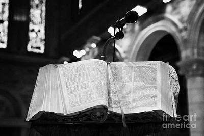 Sermon Photograph - Bible Left Open At The Gospel According To St Mark Cathedral Belfast Northern Ireland Uk by Joe Fox