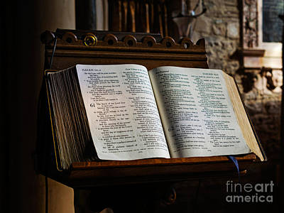King James Bible Photograph - Bible Open On A Lectern by Louise Heusinkveld