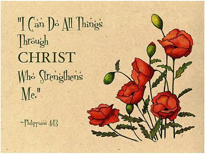 Bible Verse With Poppies Print by Joyce Geleynse