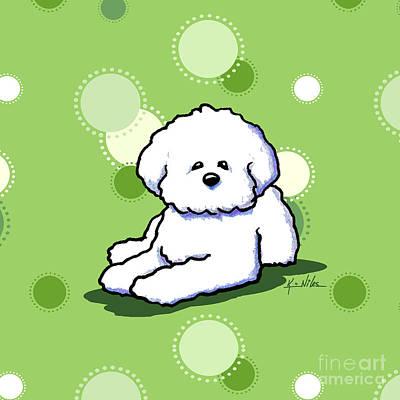 Cute Dog Mixed Media - Bichon Frise On Green by Kim Niles