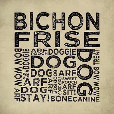 Bichon Frise Typography Print by Flo Karp