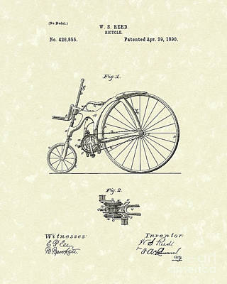 Bicycle Drawing - Bicycle 1890 Patent Art by Prior Art Design