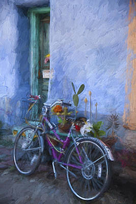 Bicycling Mixed Media - Bicycle And Blue Wall Painterly Effect by Carol Leigh