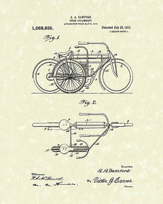 Bicycle Drawing - Bicycle Attachment 1913 Patent Art by Prior Art Design