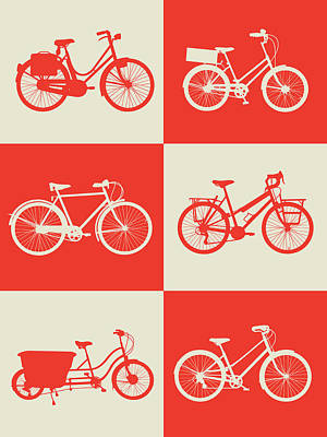 Bicycle Collection Poster 1 Print by Naxart Studio