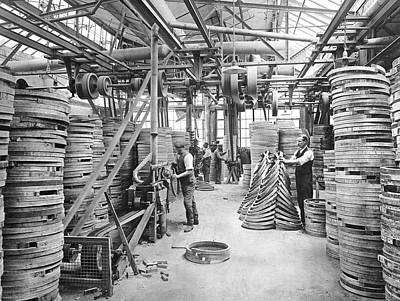 Bicycle Photograph - Bicycle Factory Interior by Underwood Archives