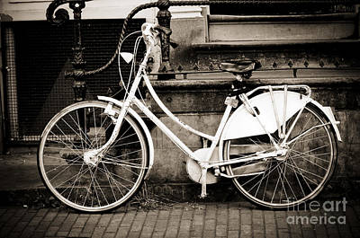Amsterdam Photograph - Bicycle Next To Old Stair Case by Oscar Gutierrez