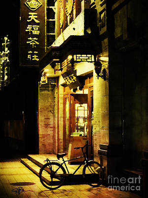 Bicycle On The Streets Of Beijing At Night Print by Jani Bryson