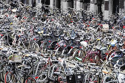 Bicycle Parking Lot Print by Oscar Gutierrez