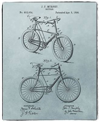 Bicycle Drawing - Bicycle Patent Blue by Dan Sproul