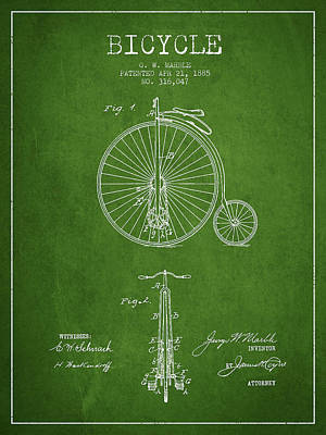 Bicycle Patent Drawing From 1885 - Green Print by Aged Pixel