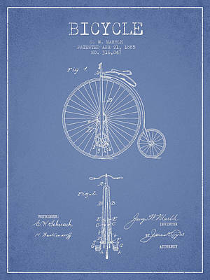 Bicycle Digital Art - Bicycle Patent Drawing From 1885 - Light Blue by Aged Pixel