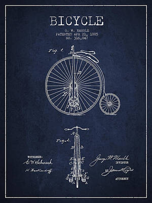 Bicycle Patent Drawing From 1885 - Navy Blue Print by Aged Pixel