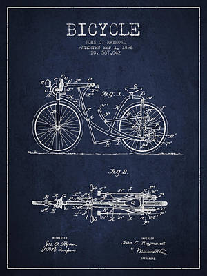 Bicycle Patent Drawing From 1896 - Navy Blue Print by Aged Pixel