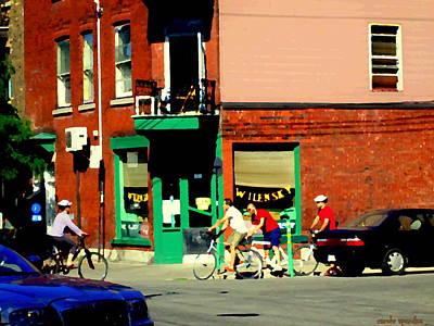 Bicycle Path At Wilenskys Diner Rue Fairmount And Clark Montreal Cafe Street Scene Carole Spandau Print by Carole Spandau