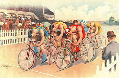 Bicycle Race Photograph - Bicycle Race 1895 by Padre Art