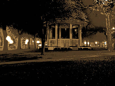 Bienville Square Grandstand Posterized In Sepia Tone Print by Marian Bell