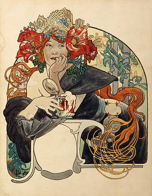 Hairstyle Photograph - Biere De La Meuse,  Polychrome Gouache On Buffed Paper by Alphonse Marie Mucha