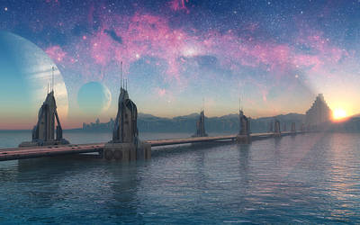 Thor Digital Art - Bifrost Bridge by Cynthia Decker