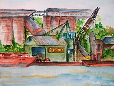 Big Andy Terminal On Ohio River Print by Elaine Duras